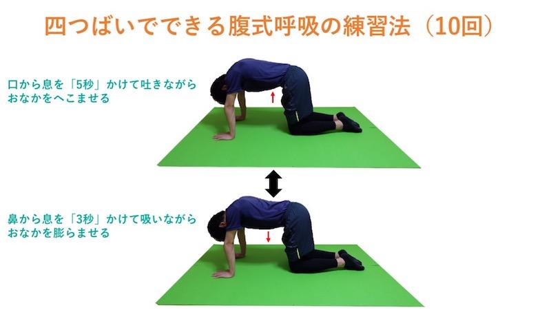 四つばいでできる腹式呼吸の練習法
