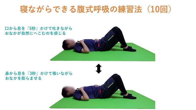 寝ながらできる腹式呼吸の練習法