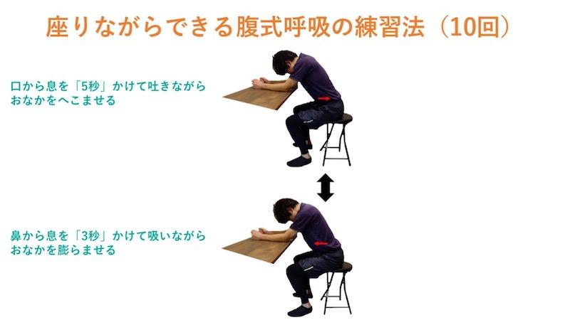 座りながらできる腹式呼吸の練習法