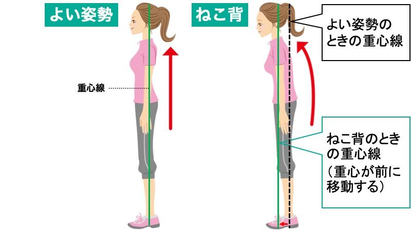 ねこ背の重心位置