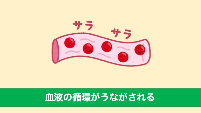 筋ポンプ作用がはたらくため、血液の循環がうながされる
